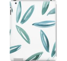 Watercolor abstract leaves blue+green iPad Case/Skin