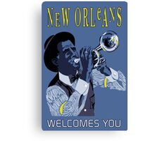 New Orleans welcomes you, retro travel ad, jazz trumpet player Canvas Print