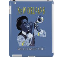 New Orleans welcomes you, retro travel ad, jazz trumpet player iPad Case/Skin