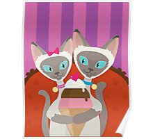 Siamese Cats Ice Cream Poster