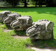 Wallington Dragon Stone Heads by Woodie