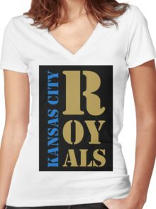 Kansas City Royals typography Women's Fitted V-Neck T-Shirt