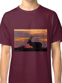 Bull Tule Elk Silhouetted at Sunset Classic T-Shirt