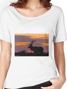Bull Tule Elk Silhouetted at Sunset Women's Relaxed Fit T-Shirt