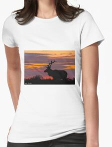 Bull Tule Elk Silhouetted at Sunset Womens Fitted T-Shirt