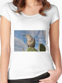 Curve-Billed Thrasher on a Prickly Pear Cactus Women's Fitted Scoop T-Shirt