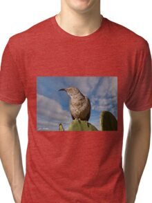 Curve-Billed Thrasher on a Prickly Pear Cactus Tri-blend T-Shirt