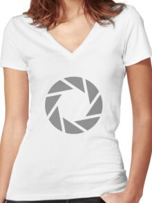 Portal Aperture Women's Fitted V-Neck T-Shirt