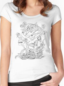 illustration with skull, snake, butterflies and flowers Women's Fitted Scoop T-Shirt