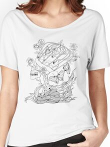 illustration with skull, snake, butterflies and flowers Women's Relaxed Fit T-Shirt