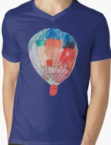 Watercolor and Pen and Ink Colorful Hot Air Balloon Mens V-Neck T-Shirt