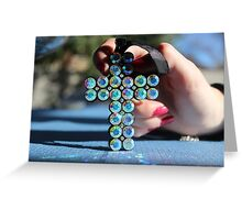 Sparkly Blue Cross Greeting Card