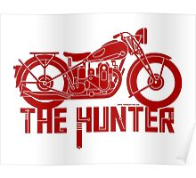 The Hunter - Ariel Motorcycle (red on white) Poster