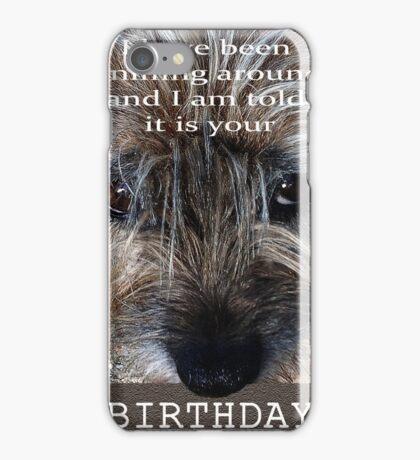 Birthday wishes, Border terrier, sniffing around, humor iPhone Case/Skin