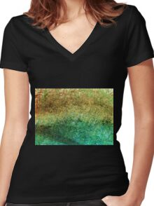 Forest At The Edge Of The Pond in Oil Pastel Women's Fitted V-Neck T-Shirt