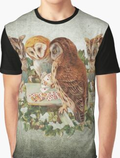 Cool Owls Playing Poker Graphic T-Shirt