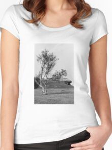 Normandy Landscape Black and White  Women's Fitted Scoop T-Shirt