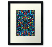 Caribbean inspired  watercolor mandala pattern -BLACK Framed Print