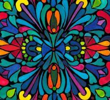 Caribbean inspired  watercolor mandala pattern -BLACK Sticker