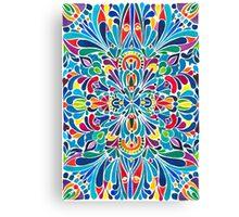 Caribbean inspired  watercolor mandala pattern Canvas Print