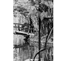 Monet Japanese Bridge Black and White  Photographic Print