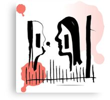 The kissers illustration longing for color Canvas Print