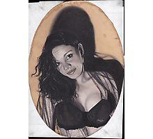 Original Realism Charcoal Drawing of Beautiful Semi Nude Woman Photographic Print