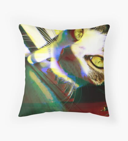 That's One Glitchin' Kitty Throw Pillow