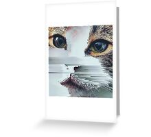 Faded Cat Glitch That Greeting Card