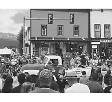 Black and White Photo of Gingerbread Man in Parade Photographic Print