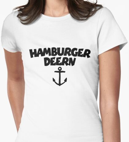 Hamburger Deern Anker (Schwarz) Womens Fitted T-Shirt