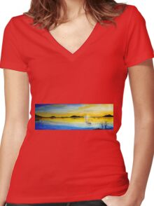 Calm at Sunrise Women's Fitted V-Neck T-Shirt