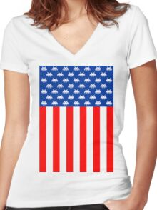 USA : UNITED STATE OF ARCADE Women's Fitted V-Neck T-Shirt