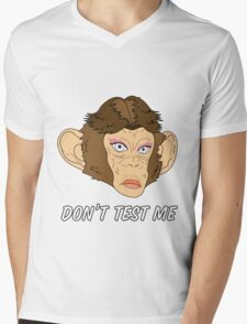 Monkey Head - Don't Test Me Mens V-Neck T-Shirt