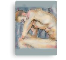 Muscular male nude in grey Canvas Print