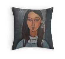 Amedeo Modigliani - Alice . Girl Portrait . Fashion . Modigliani , Alice  Throw Pillow