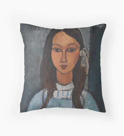 Amedeo Modigliani - Alice . Girl Portrait . Fashion . Modigliani , Alice  Throw Pillow