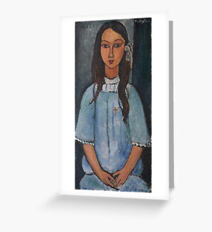 Amedeo Modigliani - Alice . Girl Portrait . Fashion . Modigliani , Alice  Greeting Card