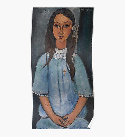 Amedeo Modigliani - Alice . Girl Portrait . Fashion . Modigliani , Alice  Poster