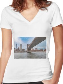 Under the Brooklyn Bridge Women's Fitted V-Neck T-Shirt
