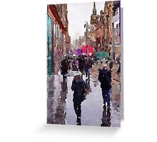 Rainy Day in Glasgow Greeting Card