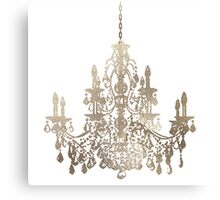 Crystal Chandelier in Faux Silver Canvas Print