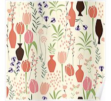 Spring flower pattern, tulips and lilies, 001 Poster