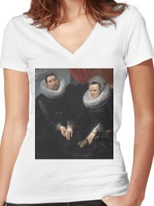 Anthony van Dyck - Portrait of a Married Couple  1617–1618 Women's Fitted V-Neck T-Shirt