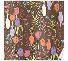Spring flower pattern, tulips and lilies, 002 Poster