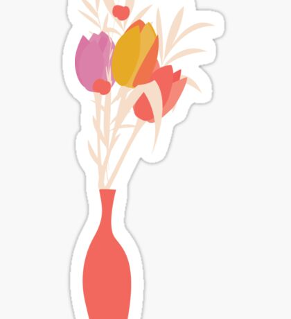 Spring flower pattern, tulips and lilies, 004 Sticker
