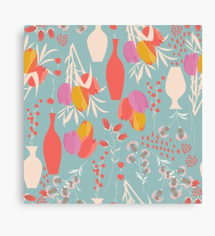 Spring flower pattern, tulips and lilies, 004 Canvas Print