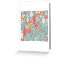 Spring flower pattern, tulips and lilies, 004 Greeting Card