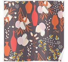 Spring flower pattern, tulips and lilies, 005 Poster