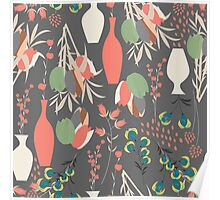 Spring flower pattern, tulips and lilies, 007 Poster